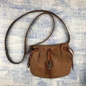 Lucky brand fringe beaded cross body bag
